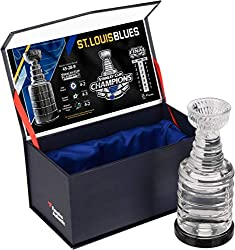 Commemorate the St. Louis Blues as the 2019 Stanley Cup Champions with this crystal trophy. Each trophy comes filled with melted game-used ice from the Stanley Cup Finals and shipped in a Fanatics Authentic gift box. It is officially licensed by the ...