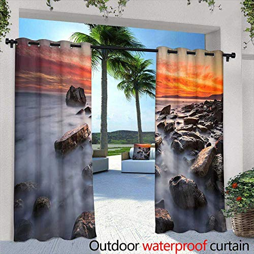 Outdoor Blackout Curtains,Halloween Design Spooky Tree Horror Background with Autumn Valley with Woods, Spooky Tree and Full Moon Space for Your Halloween Holiday Text,W96 x L108 Silver Grommet -