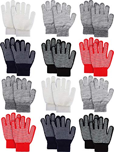 Sumind 12 Pairs Winter Knitted Magic Stretch Gloves Anti-slip Knit Cotton Warm Gloves for Children(Anti-slip Assorted #2, Kids Size 5 to 12 Years)