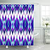Emvency Shower Curtain Waterproof Adjustable Polyester Fabric Abstract Ethnic Ikat Pattern Traditional on the in Indonesia Asian Countries 60 x 72 Inches Set With Hooks For Bathroom