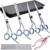 Professional Dog Grooming Scissors Kit Stainless Steel Round Tip Cutting Curved Scissors Thinning Shears Grooming Comb Pet Hair Trimming Scissors Set with Extra Dog Nail Clippers for Dogs and Cats
