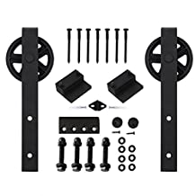 Vancleef 8FT Single Black Wheel Design Sliding Barn Door Hardware Track Rail Rolling Kit Set Industrial Strength, Easy to Follow Installation Manual Included