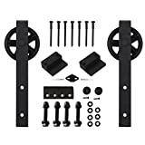 Vancleef 12FT Double Black Wheel Design Sliding Barn Door Hardware Black Rustic Closet Interior Quiet Glide Track Rail Rolling Kit Set Industrial Strength, Easy to Follow Installation Manual Included