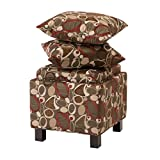Modern Square Upholstered Storage Ottoman with 2 Accent Pillows and Wood Legs in Espresso Finish - Includes ModHaus Living Pen (Brown)