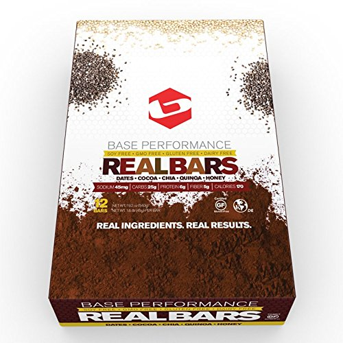 BASE Performance REAL BAR Box of 12 - Fudge Brownie Flavor | Gluten Free, Soy Free, GMO Free, and Dairy Free - Contains Cocoa, Chia, Dates, Quinoa, Honey and many other natural ingredients
