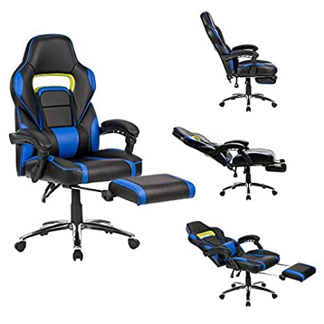 Awe Inspiring Langria Computer Gaming Chair Faux Leather Racing Style Executive Office Chair Ergonomic High Back Design With Padded Footrest Lumbar Support Black Machost Co Dining Chair Design Ideas Machostcouk