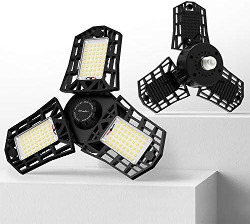 Freelicht 2 Pack LED Garage Light, 60W Ultra-Bright Ceiling Lights Fixture, 6000LM Triple LED Garage Lighting, 6500K Screw in LED Tri Light for Attic, Basement, E26/E27