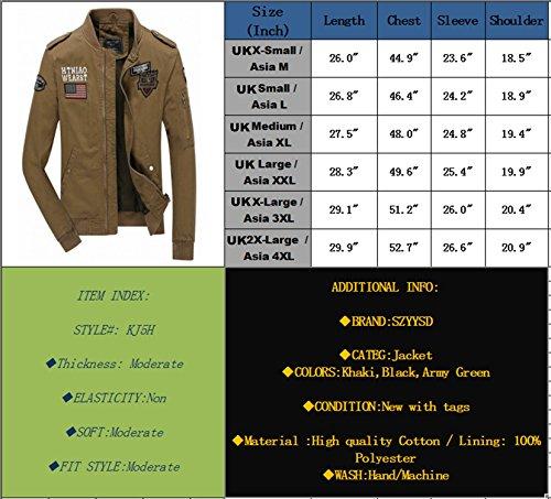 Slim In Fit Da Leggero Uomo 8826 Giacca Cotone khaki Militare Casual Szyysd z87I4F