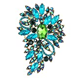 EVER FAITH Women's Austrian Crystal Wedding Flower Leaf Bouquet Brooch Blue w/ Green Gold-Tone