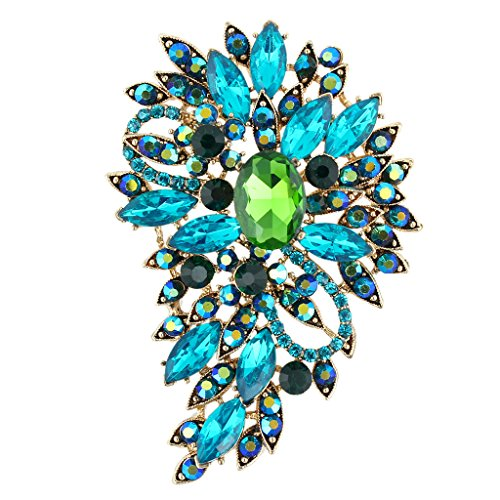 (EVER FAITH Women's Austrian Crystal Wedding Flower Leaf Bouquet Brooch Blue w/Green Gold-Tone)