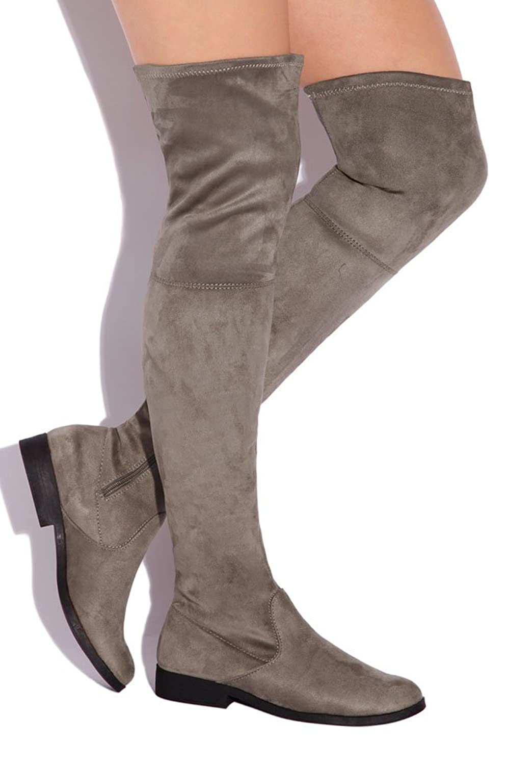 Amazon.com | LFL by Lust For Life Rank ELUSIVE REBEL Over-the-Knee Thigh  High Flat Fiited Boots | Boots