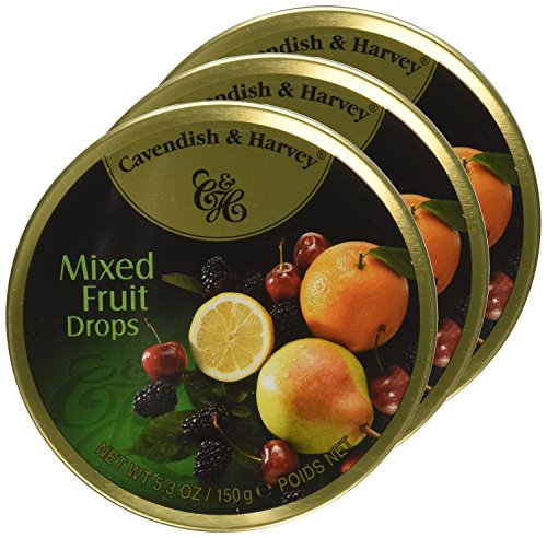 Cavendish & Harvey Mixed Fruit Drops, 5.3 oz Tins in a BlackTie Box (Pack of 3) by Black Tie Mercantile (Image #2)