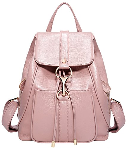 BOYATU Real Leather Backpacks Purse for Women Ladies Fashion Travel Shoulder Bag (Taro Pink) by BOYATU