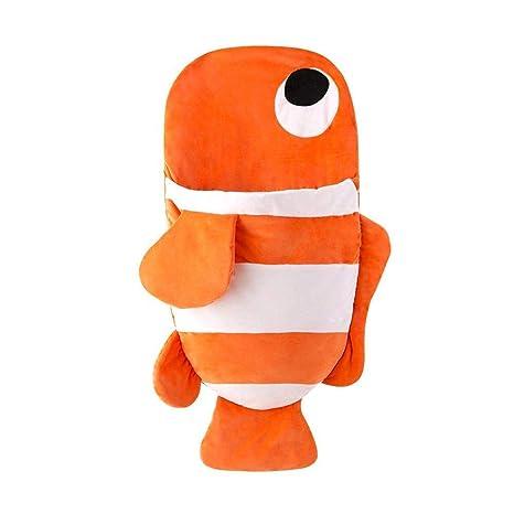 Saco de dormir de felpa con diseño de pez de dibujos animados naranja naranja Talla: