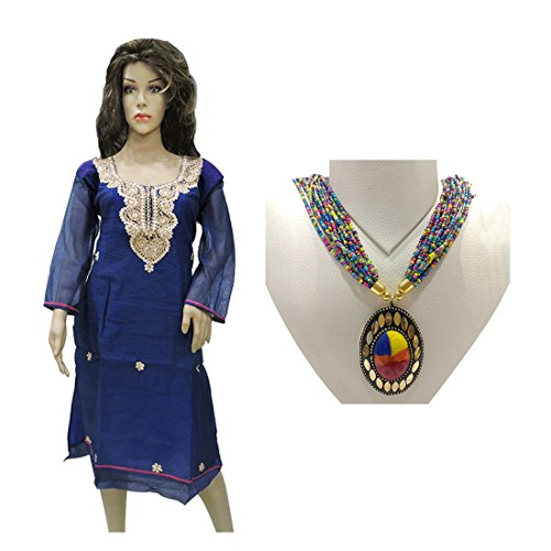 Ratnatraya Cotton Blue Kurti For Women   Straight Kurtis For Girls and Gift & Multicolor Stone Heavy Pendant Long Multilayered Beads Necklace   Traditional Stylish Ethnic Jewellery For Girls and Women