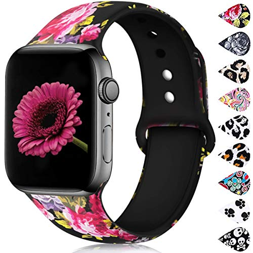 Haveda Floral Bands Compatible with Apple Watch Band 40/38mm, Soft Pattern Printed Silicone Sport Replacement Wristbands for Women Men Kids with iWatch Series 4 Series 3/2/1, S/M, Pink Flower