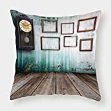 iPrint Cotton Linen Throw Pillow Cushion Cover,Clock Decor,A Vintage Clock and Empty Picture Frames in an Old Room Wooden Backdrop,Green and Brown,Decorative Square Accent Pillow Case