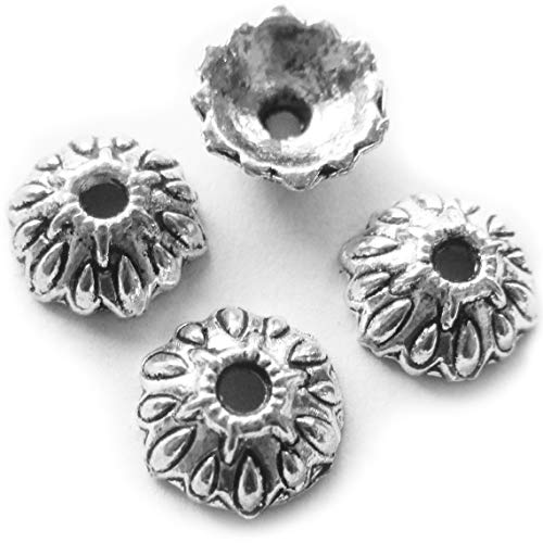 Heather's cf 100 Pieces Silver Tone Leaves Beads Caps Findings (Fit 12mm Round Beads) Jewelry Making 10mm ()