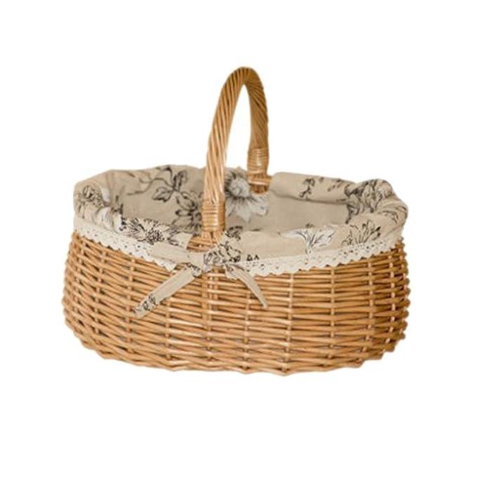 Groß XXL Weidenkorb Osterkorb Picknickkorb mit Henkel und Textilfutter
