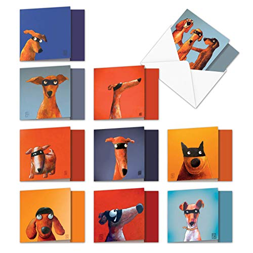 Masked Hounds - Box of 10 Hilarious Blank Greeting Cards with Envelopes (4 x 5.12 Inch) - Super Dogs All-Occasion Note Cards - Notecard Set of Assorted Funny Cards MQ4975OCB-B1x10