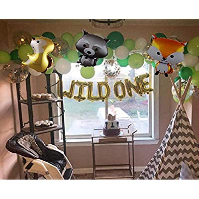 LaVenty Set of 5 Wild One Balloons Woodland Party Supplies Animal Birthday Balloons Woodland Animals Banner Forest Animal Friends Themed Balloons Woodland Animals Baby Shower Birthday Party Decorations: Toys & Games