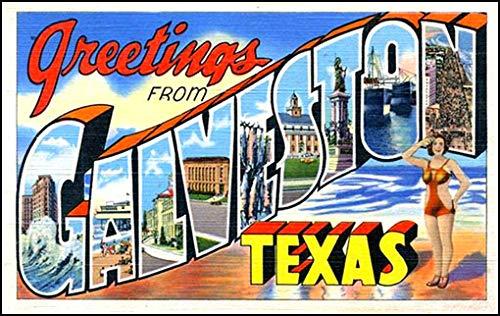 American Vinyl Vintage Greetings from Galveston Sticker (Old Postcard Art Logo Texas -