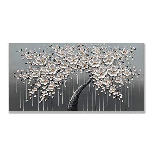 zoinart 100% Hand Painted Abstract 3D Decorative Oil Paintings White Flowers Framework 20x40 inch Modern Canvas Wall Art Home Decorations Artwork for Home Wall Decor Convenient to Hang