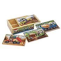 Melissa & Doug Construction Vehicles Rompecabezas de madera de 12 piezas en rompecabezas de 12 piezas en uno, hermosas ilustraciones originales, piezas de cartón resistentes, 48 piezas
