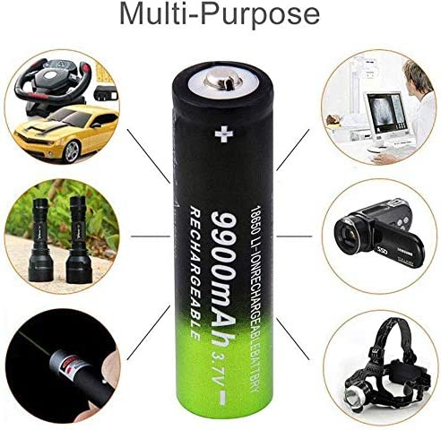 ,18650 9900mAh 3.7V Li-ion Battery for Led Flashlight Headlamp+1 Pack Smart Charger Button Top BXE 10 Packs Rechargeable Batteries