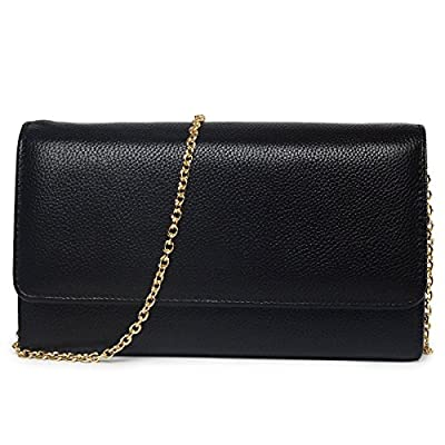 Women RFID Leather Trifold Wallet Cossbody Purse Clutch with Chain Strap