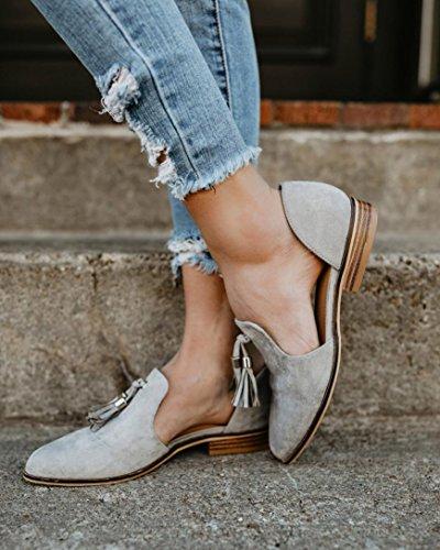 Caviglia Scarpe Grigio Moda Pelle scarpa eleganti Romon Solid Autunno Nappe singole estive Scarpe Elecenty Donna 1w0qT7Rxx