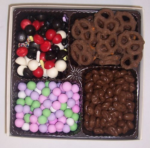Scott's Cakes Large 4-Pack Chocolate Dutch Mints, Licorice Mix, Chocolate Pretzels, & Chocolate Rasins