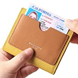 Borgasets Women's RFID Blocking Small Compact Bifold Leather Pocket Wallet Ladies Mini Purse with id Window Yellow