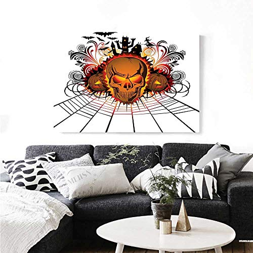 Warm Family Halloween Canvas Wall Art for Bedroom Home Decorations Angry Skull Face on Bonfire Spirits of Other World Concept Bats Spider Web Design Wall Stickers 24