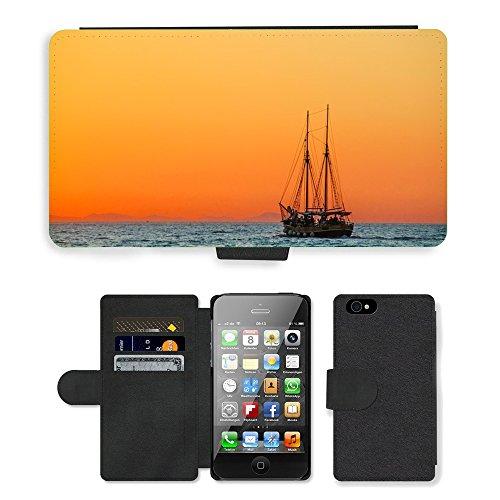 PU Leather Cover Custodia per // M00421622 Sea Sailing Vessel Boot navire // Apple iPhone 4 4S 4G