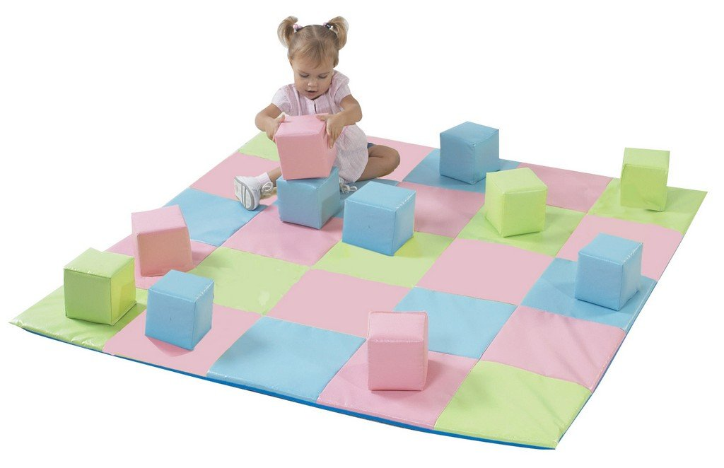 Children's Factory CF321-132P Patchwork Crawly Mat in Pastel, 5'' Height, 57.5'' Width, 19.5'' Length