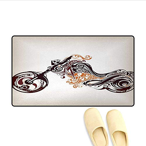 Bath Mat,Motorbike Shape with Curvy Lines Floral Ornamental Design Artwork,Doormat Outside,Warm Taupe Burgundy Ginger,Size:24