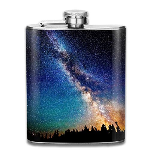 Laki-co The Galaxy Hip Flask for Liquor Stainless Steel Bottle Alcohol 7oz