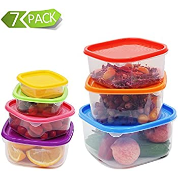1208S Microwave Food Storage Containers--7 Pack SAFE for Freezer Plastic Meal Storage Boxes with Multicolore Libs, Stackable