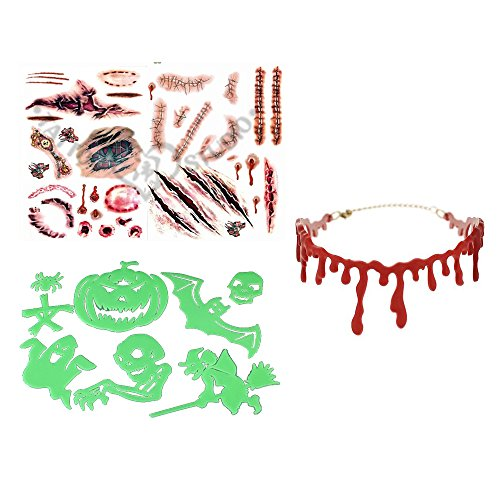 Halloween Special Supplies Bleeding Red Blood Drip Slit Throat Necklace,Simulate Horror Wounds Bloody Body Scar Stickers Tatoo and Luminous Funny Tattoo Stickers for Halloween Cosplay Makeup Party