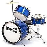 RockJam RJ103-MB 3-Piece Junior Drum Set with Crash Cymbal, Adjustable Throne & Accessories, Metallic Blue