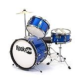 #10: RockJam RJ103-MB 3-Piece Junior Drum Set with Crash Cymbal, Adjustable Throne & Accessories, Metallic Blue