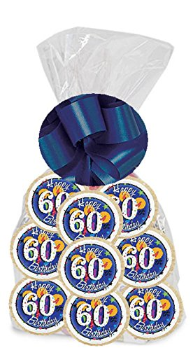 Happy 60th Birthday Star 24Pack Freshly Baked Individually Wrapped Party Favor Sugar Cookies