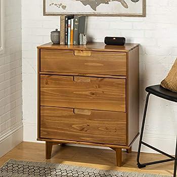 Image of WE Furniture 3 Drawer Mid Century Modern Wood Dresser Bedroom Storage, Caramel Home and Kitchen