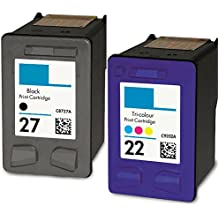 HouseOfToners Remanufactured Ink Cartridge Replacement for HP 27 & 22 (1 Black & 1 Color, 2-Pack)