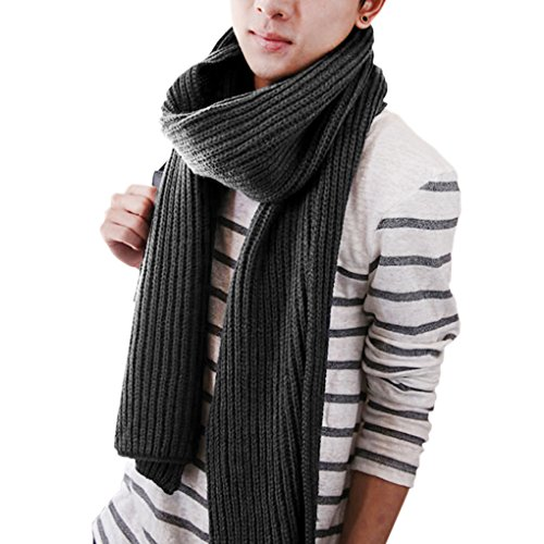 Unisex Couple Style Fashion Winter Warm Pure Color Knitting Wool Long Scarf Wrap Infinity Scarf by Fakeface