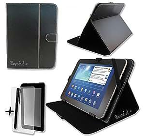 """Negro-Funda de piel sintética para YEAHPAD Pillbox7/Super Pillbox7 de 7 """"función atril, protector de pantalla y lápiz capacitivo, color negro"""