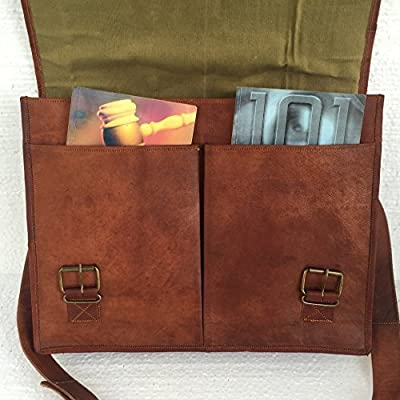 "16"" Twin Pocket Leather Messenger Bag Briefcase Laptop Satchel Crossover Bag"