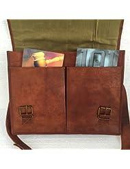 16 Twin Pocket Leather Messenger Bag Briefcase Laptop Satchel Crossover Bag