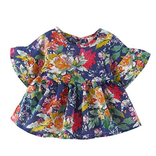 Tefamore Kleinkind Kinder Baby Mädchen Kurzarm Blume Kleidung Party Prinzessin Kleider Marine